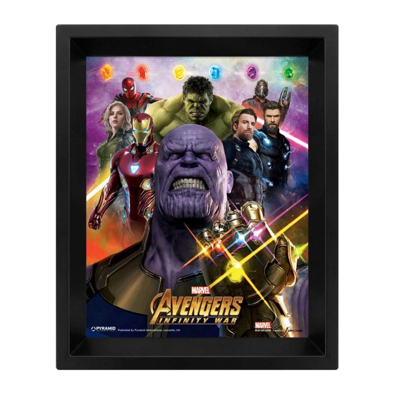 Cuadro 3D con diseño de Avengers Infinity Wars Marvel
