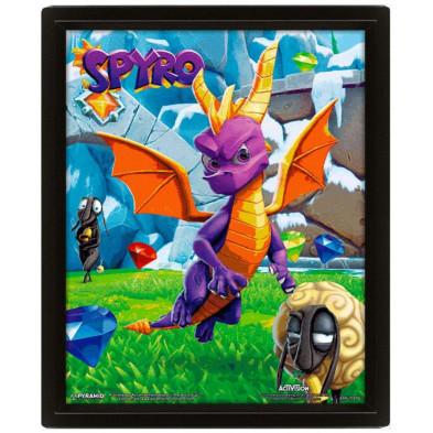 Cuadro 3D con diseño de Spyro The Dragon