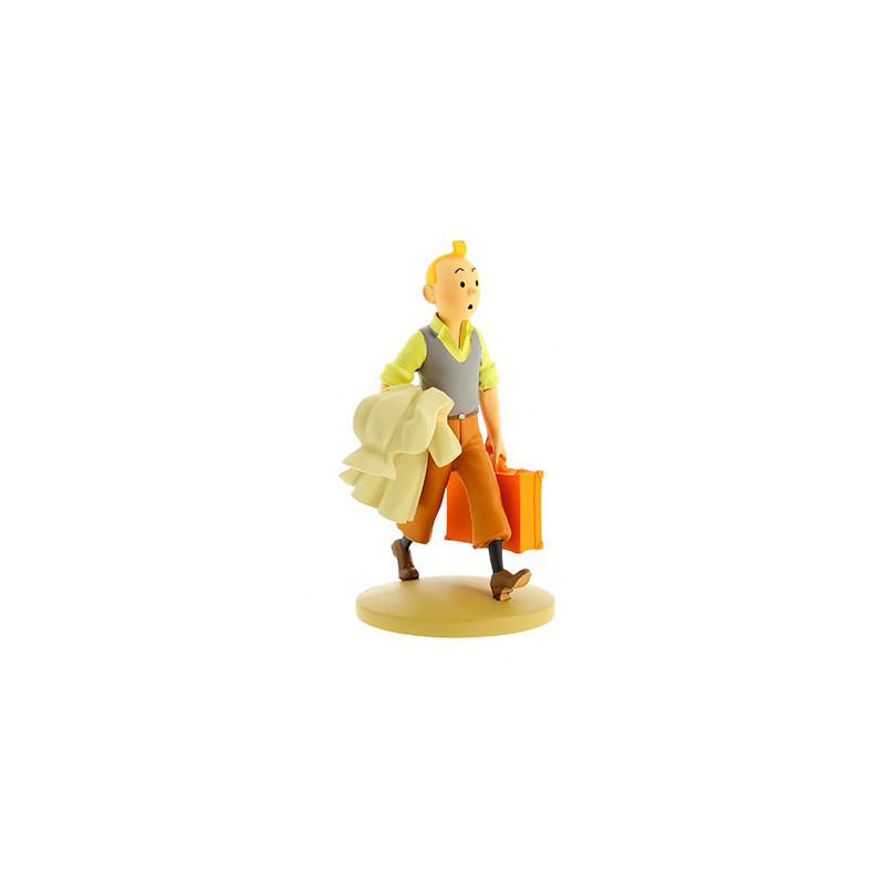 Figura resina de Tintín con gabardina y maleta en la mano