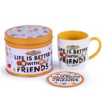 Conjunto de taza y posavasos - Friends - Life is better with friends