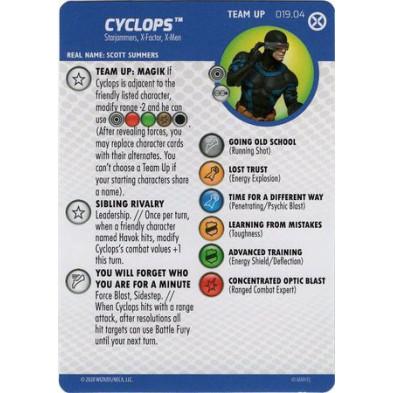 Tarjeta de Heroclix - Cyclops Team Up 019.04